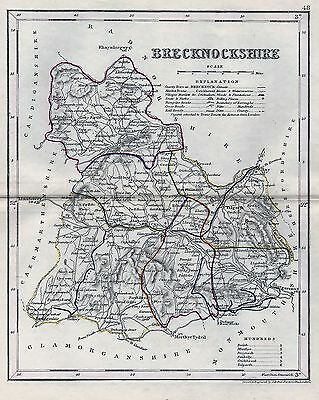 1845 Antique Map Dugdale Brecknockshire Outline Colour