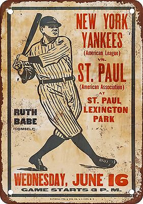 "1926 NY Yankees and Babe Ruth vs. St. Paul 10"" x 7"" Reproduction Metal Sign"
