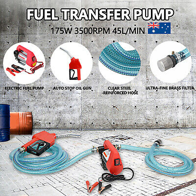 Portable Bowser Oil Transfer Pump Electric Bio Diesel Oil Fuel Auto 12V