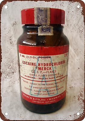 "Cocaine Hydrochloride Flakes Bottle 10"" x 7"" Reproduction Metal Sign"