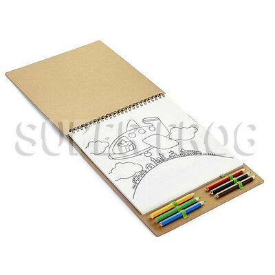 Colouring Book Paperback Children's Books Colour Kids Notebook Crayons Pencil