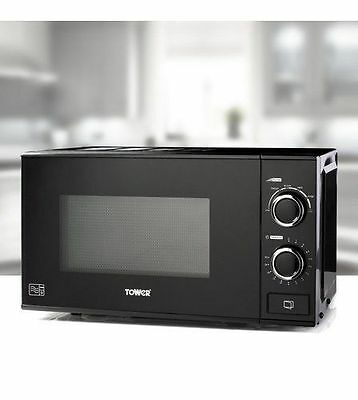 NEW Tower T24014 20L Black Glass Front 700W Manual Twin Dial Microwave 6 Power