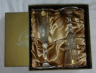 Pair of RCR Royal Crystal Rock 24% Lead Crystal Glass Flutes Wine Champagne