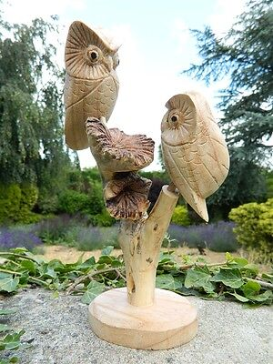 Wooden Owl Carving - 2 Hand Carved Owls on Parasite Wood
