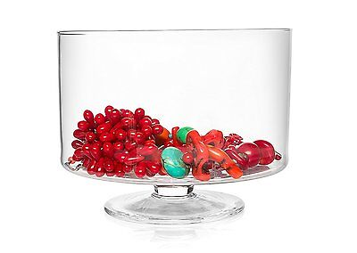 Traditional Glass Elegant Round Trifle Serving Bowl | Fruit Glass Dish 15 x 19cm