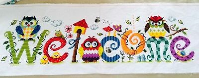 """MAGAZINE NEW Finished completed handmade Cross stitch""""OWL-WELCOME""""decor gift"""