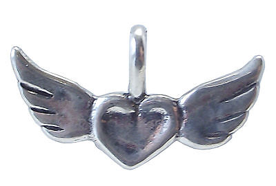 WINGS of LOVE with HEART PENDANT 925 Sterling SILVER 16mm Drop : Valentine Angel