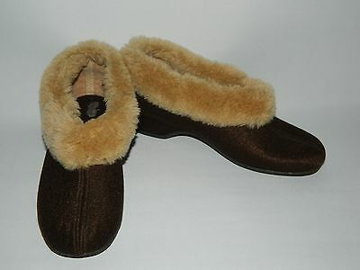 Ladies Vintage St Michael M&S Brown Faux Fur Collared Cosy Slippers Size UK 7