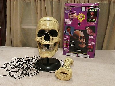 Talking Boris Halloween Haunted Skull Animated Jaw Prop Microphone Voice Effects
