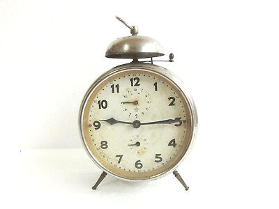 "ANTIQUE Art Deco RARE Nice GERMANY Desk ALARM TIN CHROMED Clock ""JUNGHANS"""