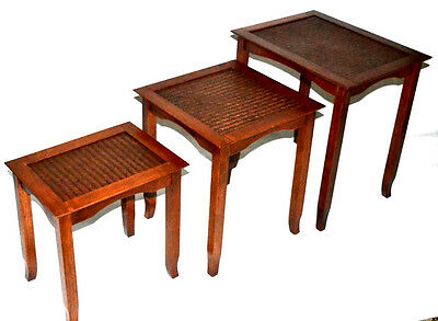 Vintage Cane top Beech Nest of 3 Coffee Side Tables - FREE Shipping [PL3012]