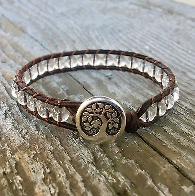 handmade beaded leather wrap bracelet clear crystal quartz sterling silver lotus