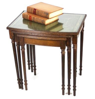 Antique Georgian Style Nest of 3 Leather Top Coffee Tables [PL2818]