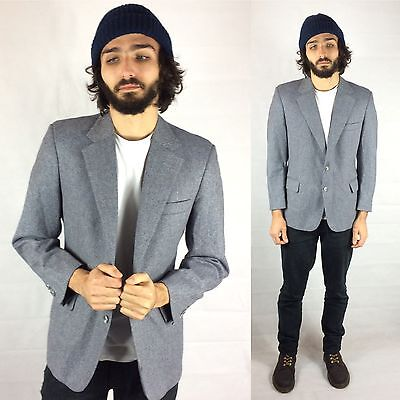 Vtg Men's Blue Grey Wool Jacket Tweed Blazer Speckled Sports Coat L Jack Shulman