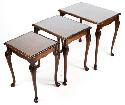 Antique Edwardian mahogany Nest of 3 Walnut Top Coffee Side Tables [PL2640]
