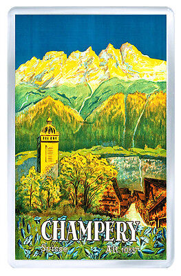 Champery Switzerland Vintage Repro Fridge Magnet Souvenir Iman Nevera