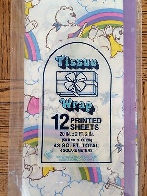 Vintage Child's Kids Tissue Paper Rainbow Bear Purple Gift Wrapping 12 Sheets