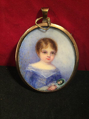 Victorian Miniature portrait Of Young Girl Signed Elizabeth Holis Yawill c1900