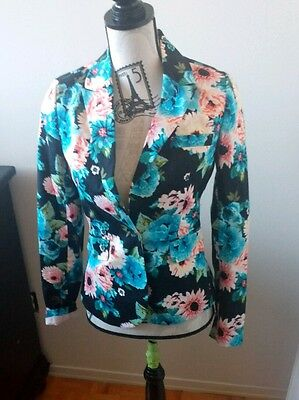 Fashion Womens Long Sleeve Floral Slim Blazer Suit Casual Jacket Outwear Suzy S