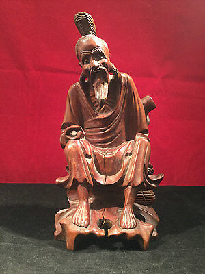 Antique Chinese Hand Carved Wood Figure c1920