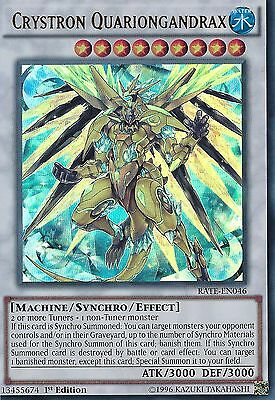 YU-GI-OH CARD: CRYSTRON QUARIONGANDRAX - ULTRA RARE - RATE-EN046 - 1st EDITION