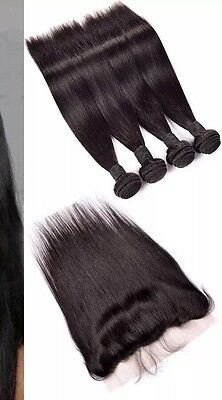 300g/3bundles brazillian straight human hair and lace frontal