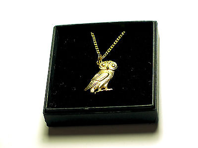 Greek owl of Athena 22C Gold plated English Pewter pendant