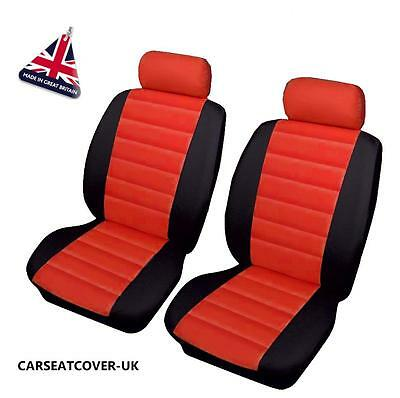 VAUXHALL VECTRA VXR - Front PAIR of Red LEATHER LOOK Car Seat Covers
