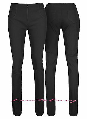Ladies Girls Womens Black School Work Trousers Quality Stretch Fitted Work Pants