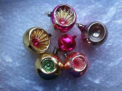 6 Vintage Glass Xmas Christmas Decorations Ornaments Indented Baubles