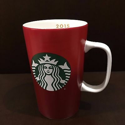 New Starbucks 2015 Red Ombre Christmas Holiday 16 oz Orange Ceramic Mug with Box
