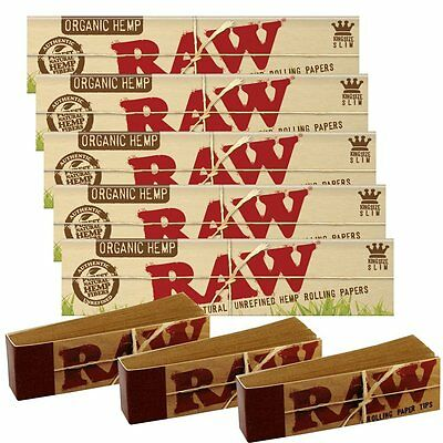 5 RAW organic Hemp King Size Rolling Papers and 3 Raw Filter Tips Raw Bundle