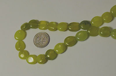 LEMON JADE GEMSTONE NUGGET BEADS APPROX 10mm - 15mm LONG AND 5mm THICK