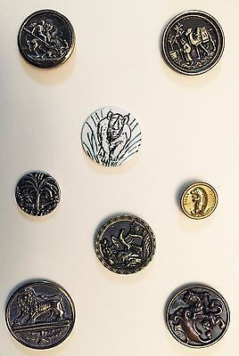 Fabulous Card Of 8 Antique & Collectible Buttons With Animals