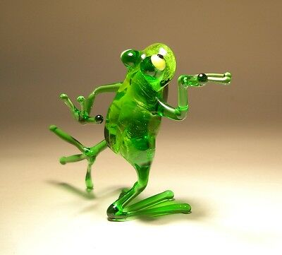 "Blown Glass Figurine ""Murano"" Art Animal Green Dancing FROG 3"