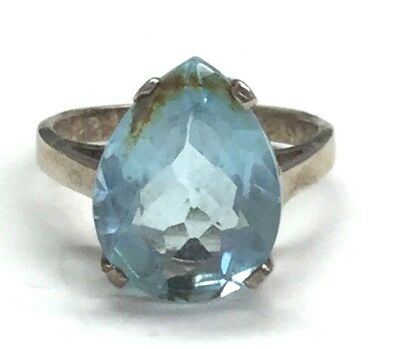 Vintage 925 Sterling Silver Cocktail Ring- Pear Shape  Blue Topaz Stone Size 8