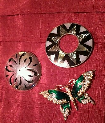 Collection of Broaches X 3 925 silver, art nouveau style broachs, 925 Mexico cos