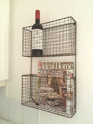 Antique Copper Wire Magazine Newspaper Wine Rack Vintage Wall Storage Baskets