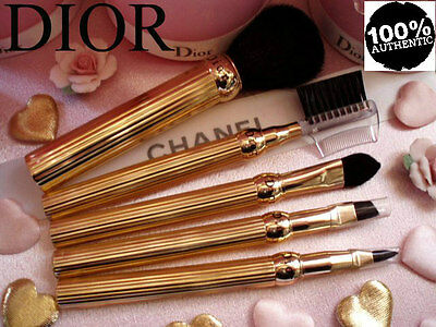 100%AUTHENTIC Exclusive MOST RARE DIOR SHOW Signature GOLD EYEBROWS&COMB BRUSH