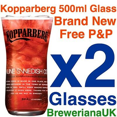Set Of 2 Kopparberg Glasses 500ml 50cl Brand New 100% Genuine Rare Edition CE