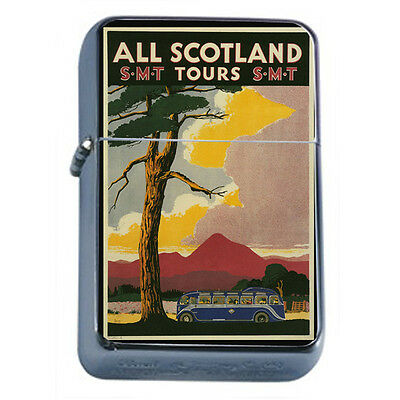 Vintage Poster D96 Windproof Dual Flame Torch All Scotland Bus Tours