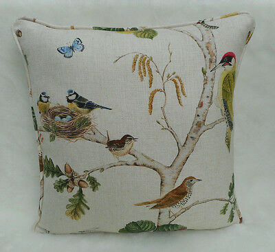 Sanderson Fabric Cushion Cover 'Woodland Chorus' Linen/Multi Linen Blend