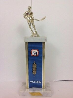Vintage Molson Brewerie Beer Hockey Trophy Marble Base 12 Inches