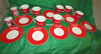 17 Piece Coca Cola Soda Gibson Brand Cup and Saucer w/ Salt & Pepper 1997 R&W