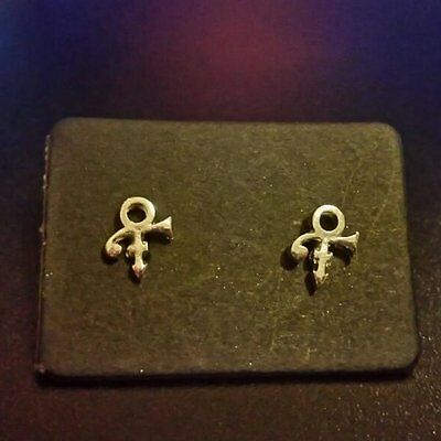 PRINCE ROGERS NELSON LOVE SYMBOL SILVER PLATED TINY STUD EARRINGS O(+  Necklace