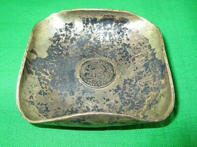 Antique Amano Peru Ashtray Sterling Silver Plata 925 1/2 Real 1901 Coin 2 Inches
