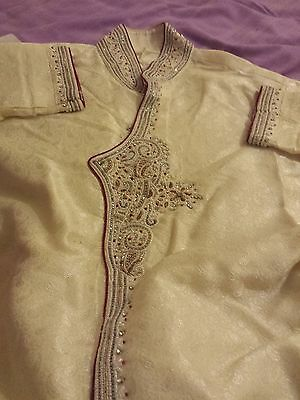 mens cream golden sherwani with red pipping size 40