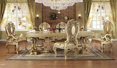Homey Design HD-8016 Royal Antique Gold Dining Room Set 7Pcs