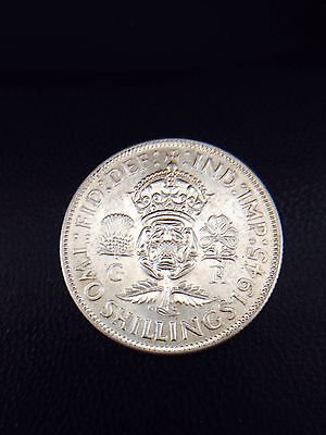 King George Vi 1944 One Florin Coin .500 Silver 11 Grams Great Britain Uk