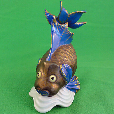 "Koi Carp figurine 6"" tall Herend porcelain hand painted Hungary 24kt gold"
